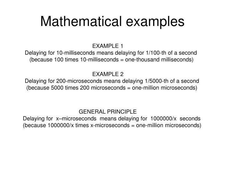 Mathematical examples