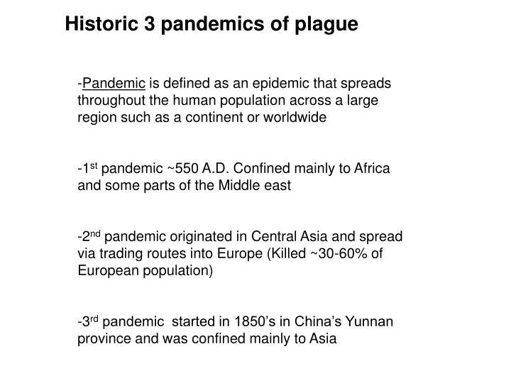 Historic 3 pandemics of plague