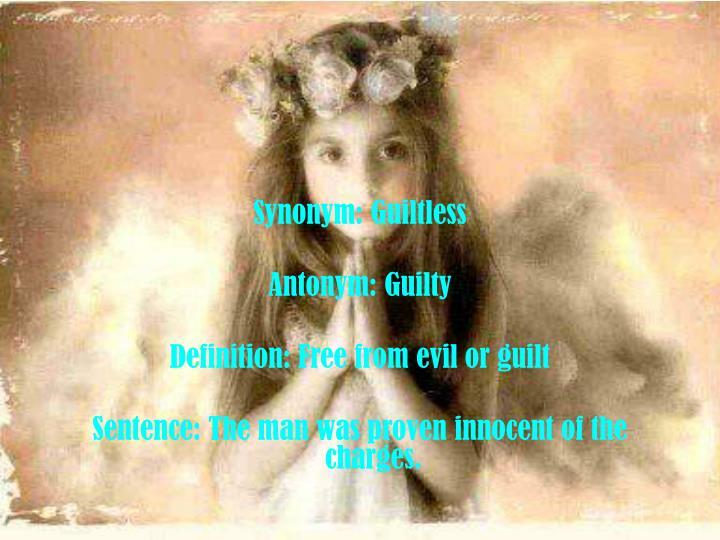Synonym: Guiltless