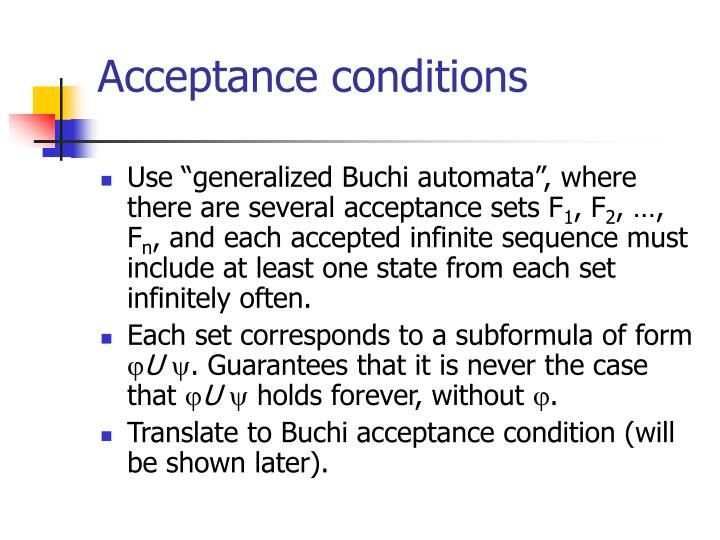 Acceptance conditions