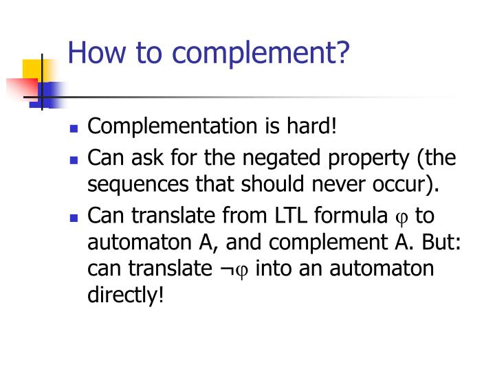 How to complement?
