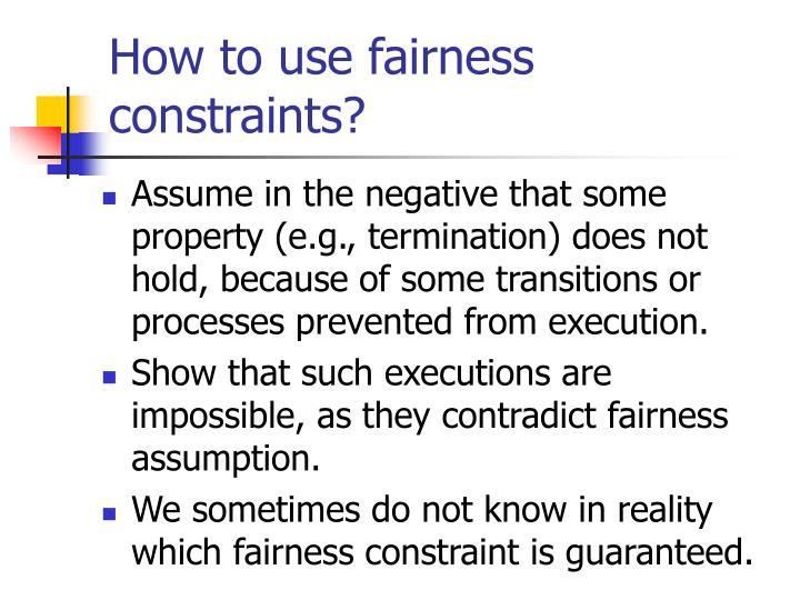 How to use fairness constraints?