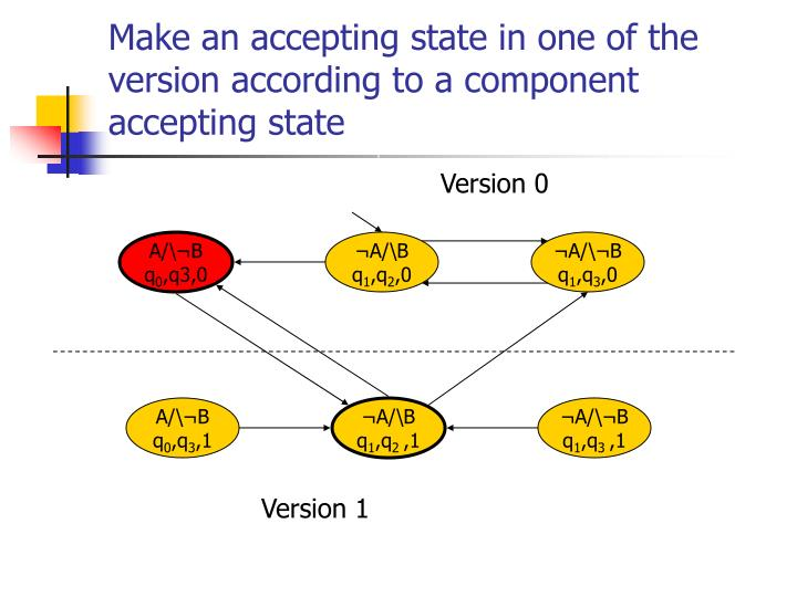 Make an accepting state in one of the version according to a component accepting state