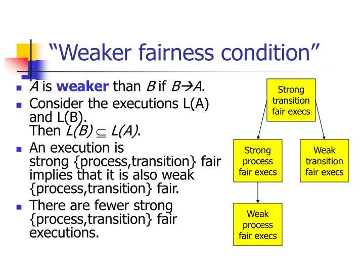 """Weaker fairness condition"""