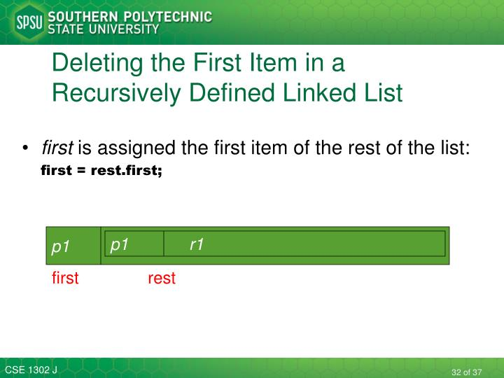 Deleting the First Item in a Recursively Defined Linked List