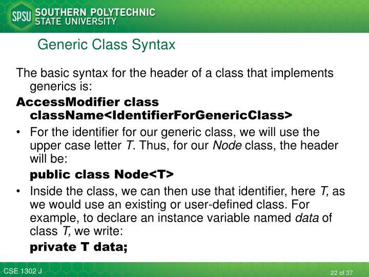 Generic Class Syntax