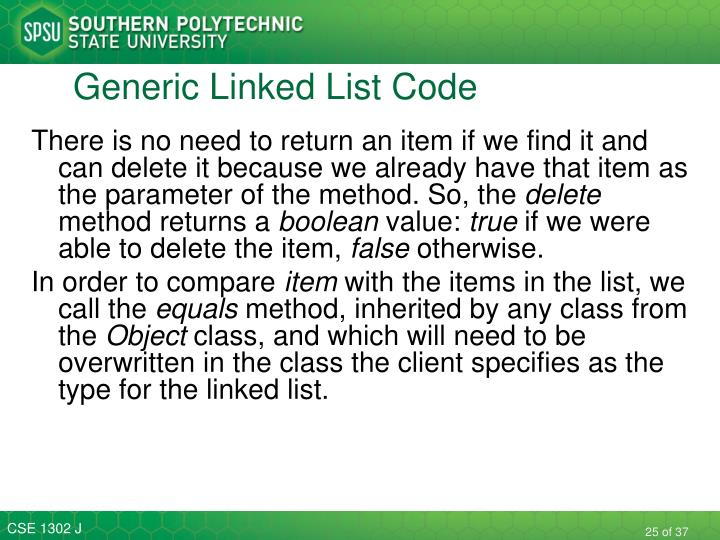 Generic Linked List Code