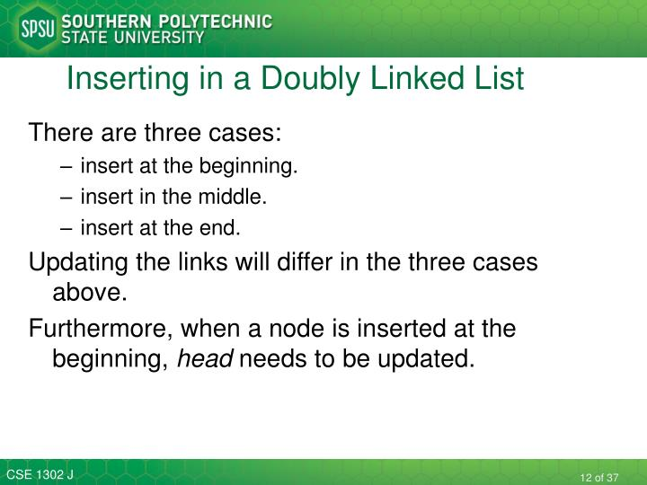 Inserting in a Doubly Linked List