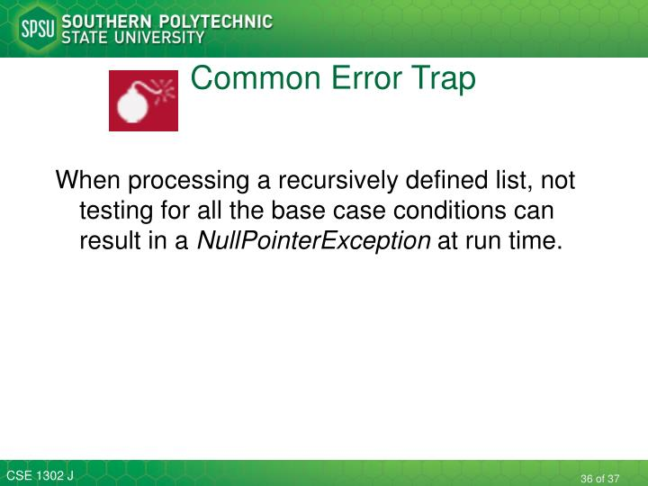 Common Error Trap