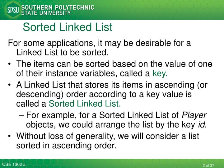Sorted linked list