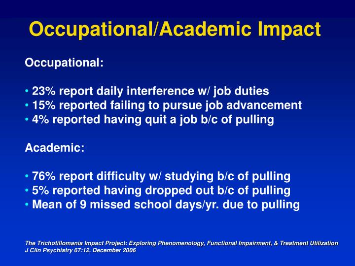 Occupational/Academic Impact