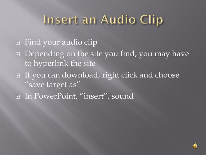 Insert an Audio Clip
