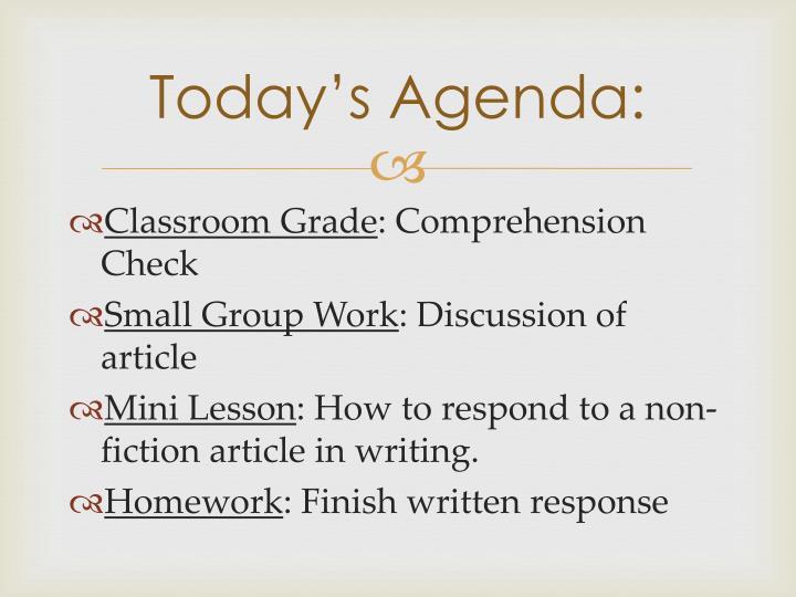 Today's Agenda: