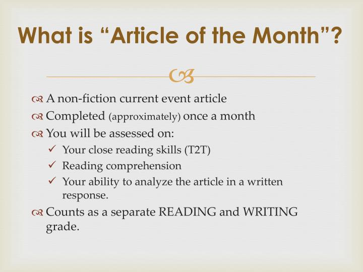 What is article of the month