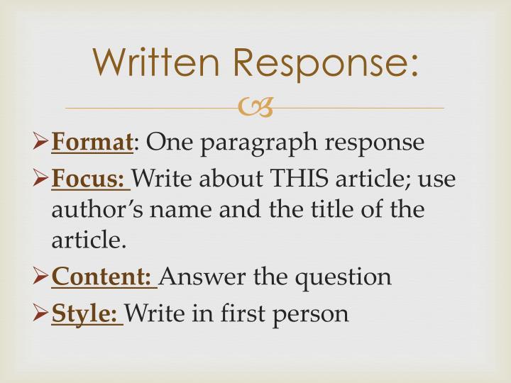 Written Response: