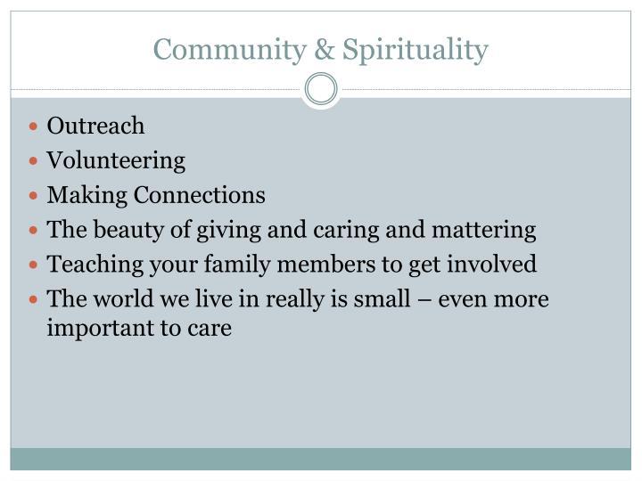 Community & Spirituality