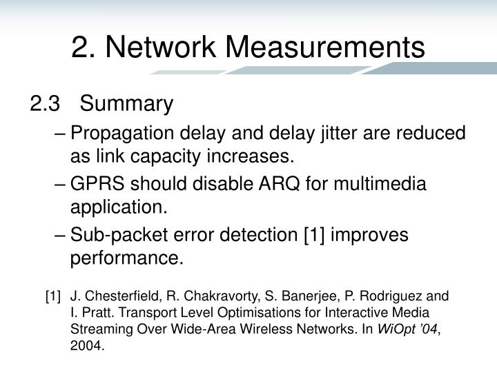 2. Network Measurements