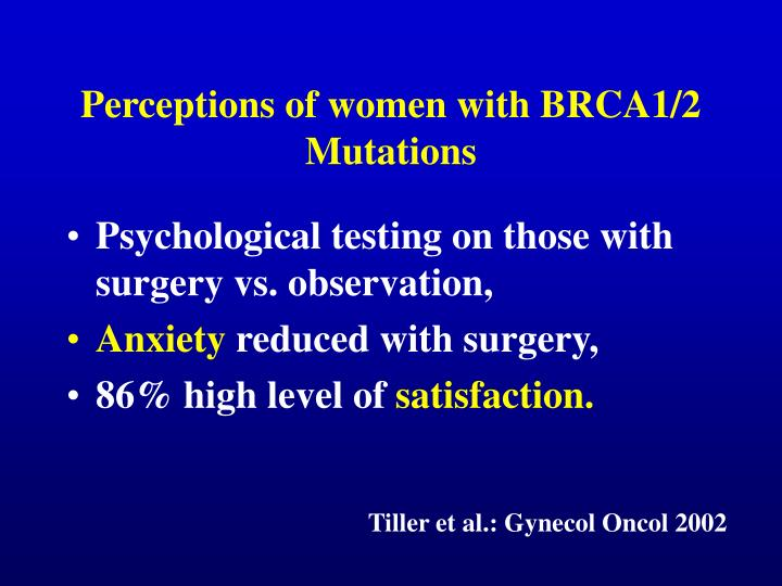 Perceptions of women with BRCA1/2 Mutations