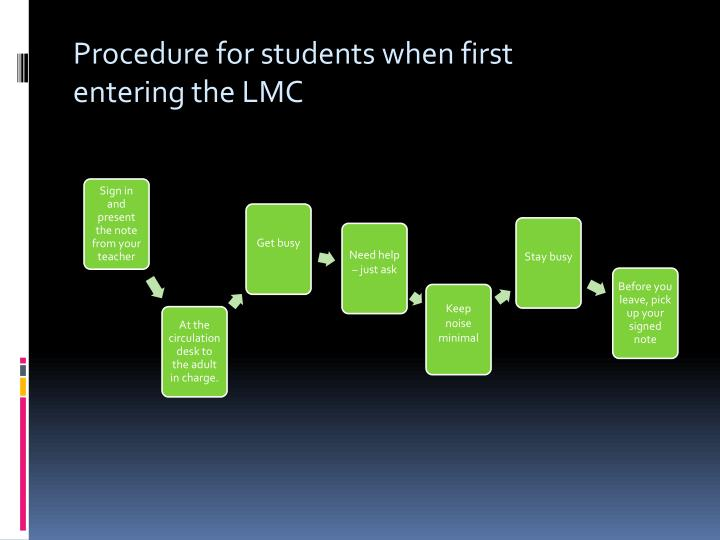 Procedure for students when first entering the LMC