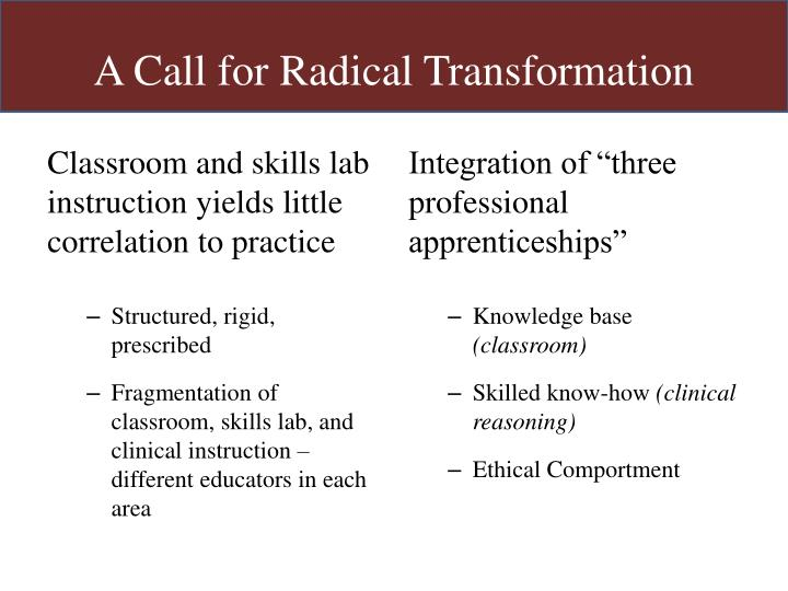 A Call for Radical Transformation