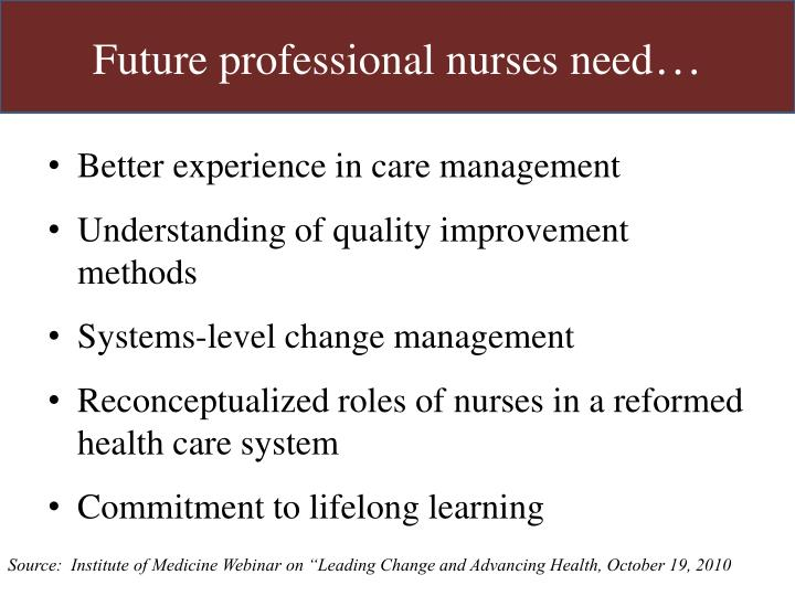 Future professional nurses need