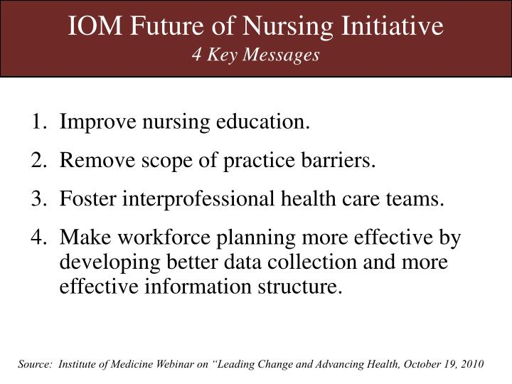 IOM Future of Nursing Initiative
