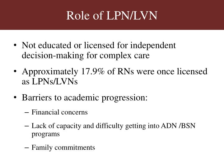 Role of LPN/LVN