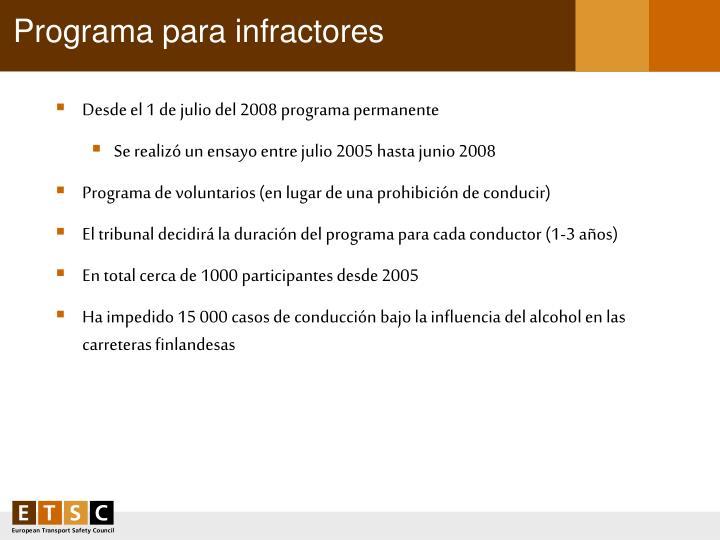 Programa para infractores