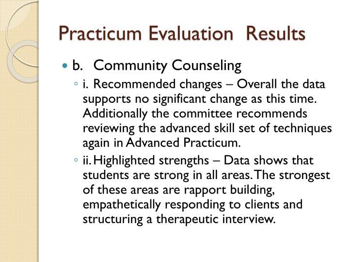 Practicum Evaluation  Results