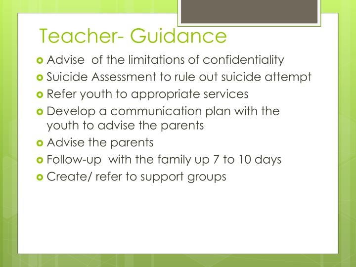 Teacher- Guidance