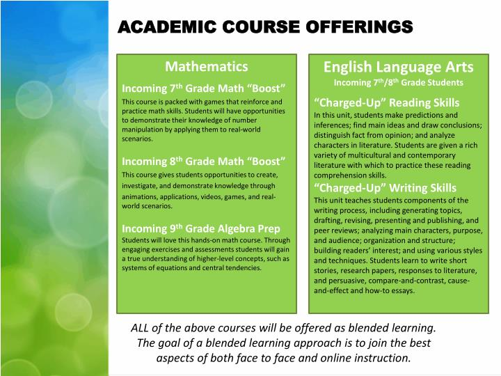 ACADEMIC COURSE OFFERINGS