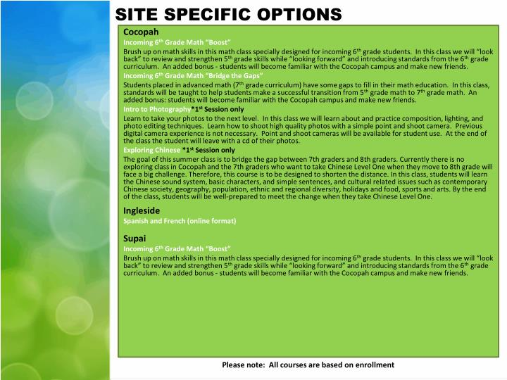 SITE SPECIFIC OPTIONS