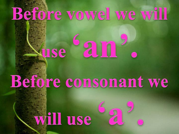 Before vowel we will use