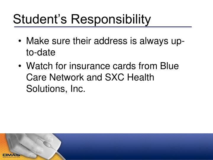 Student's Responsibility