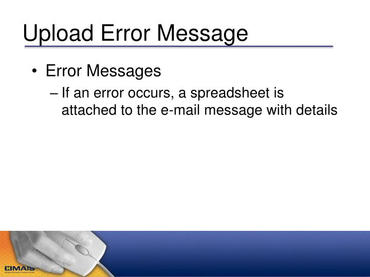 Upload Error Message