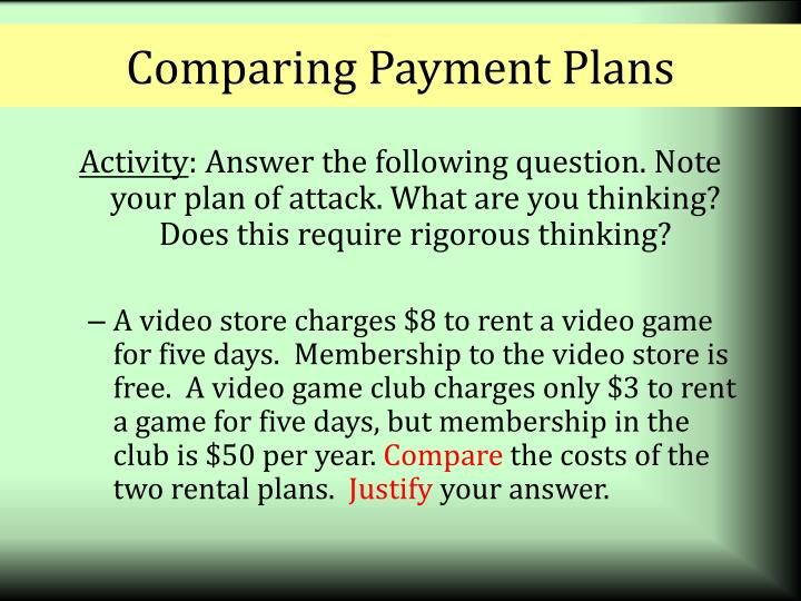 Comparing Payment Plans
