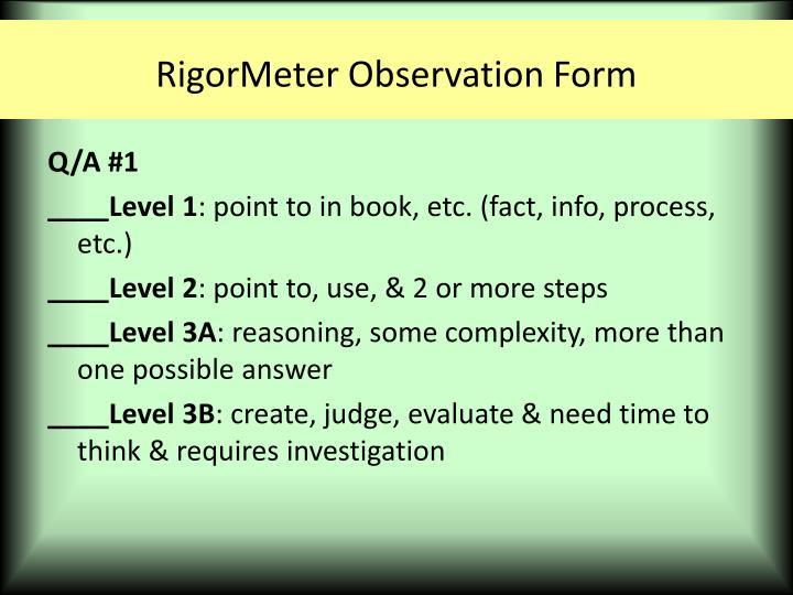 RigorMeter Observation Form