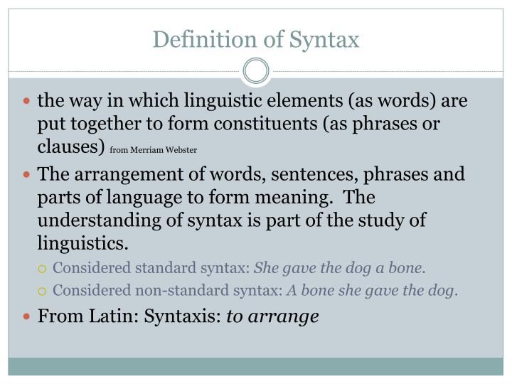 Definition of syntax