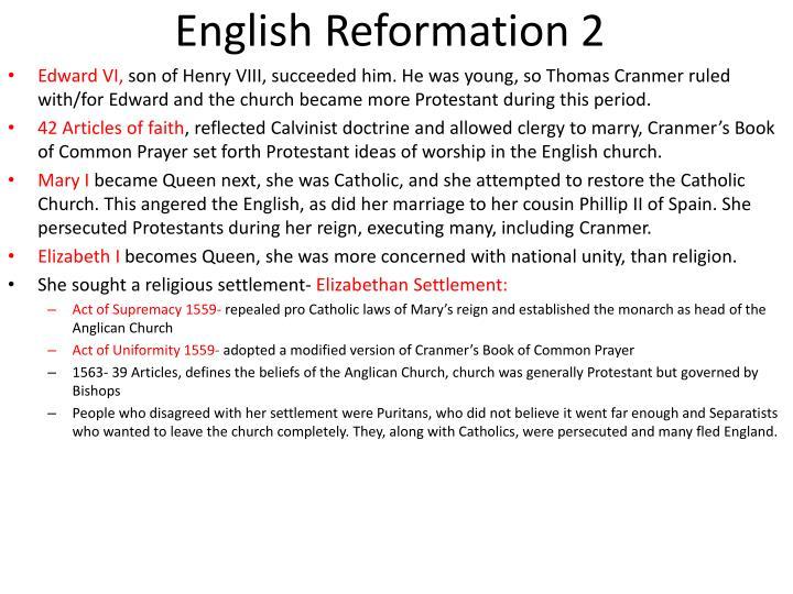 English Reformation 2