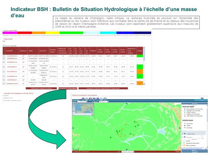 Indicateur BSH : Bulletin de Situation Hydrologique à l'échelle d'une masse d'eau