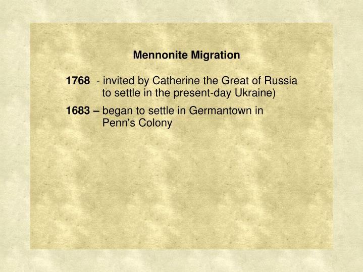 Mennonite Migration