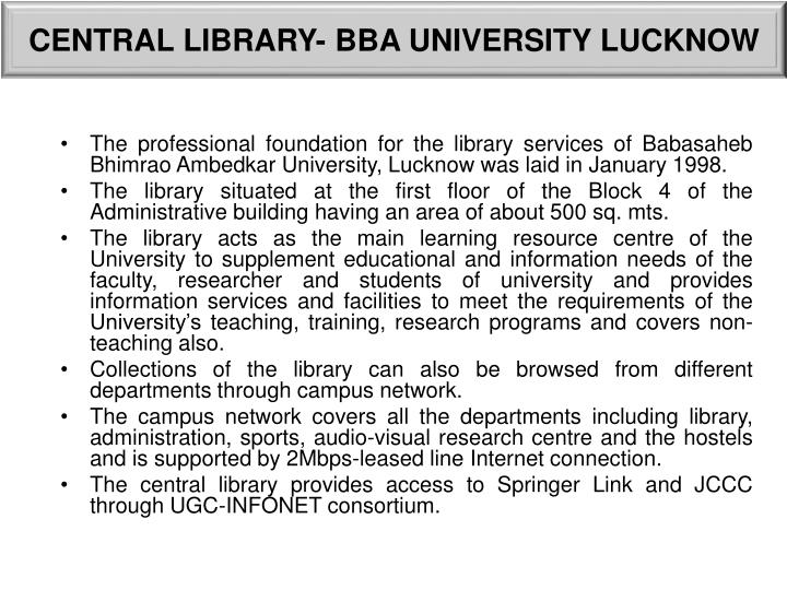 CENTRAL LIBRARY- BBA UNIVERSITY LUCKNOW