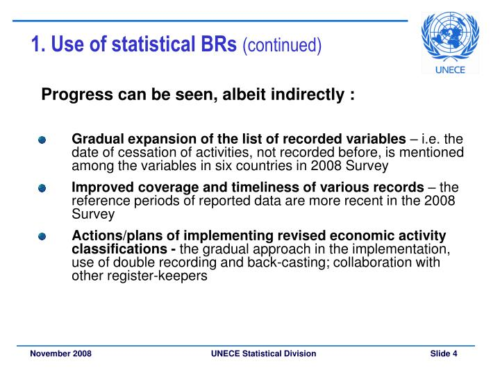 1. Use of statistical BRs