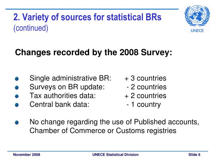 2. Variety of sources for statistical BRs