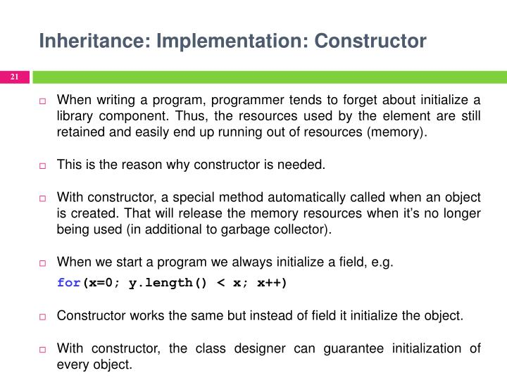 Inheritance: Implementation: Constructor