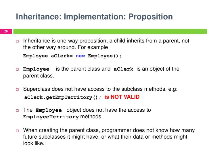 Inheritance: Implementation: Proposition