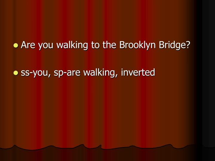 Are you walking to the Brooklyn Bridge?