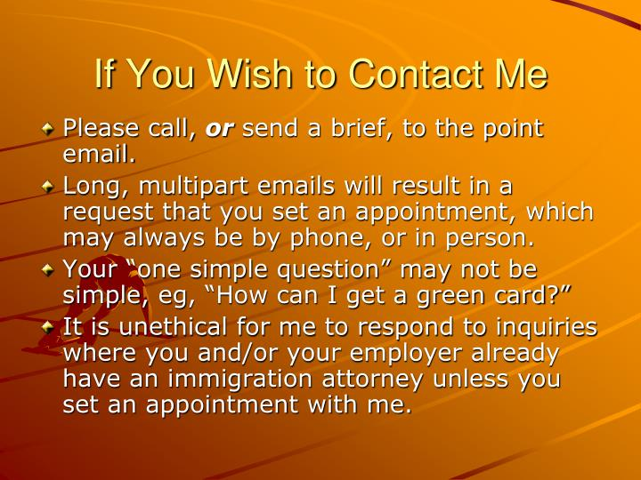 If You Wish to Contact Me