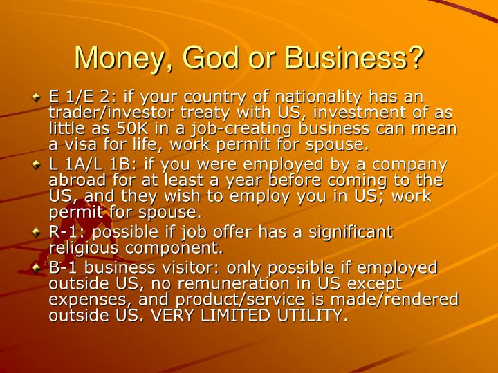 Money, God or Business?