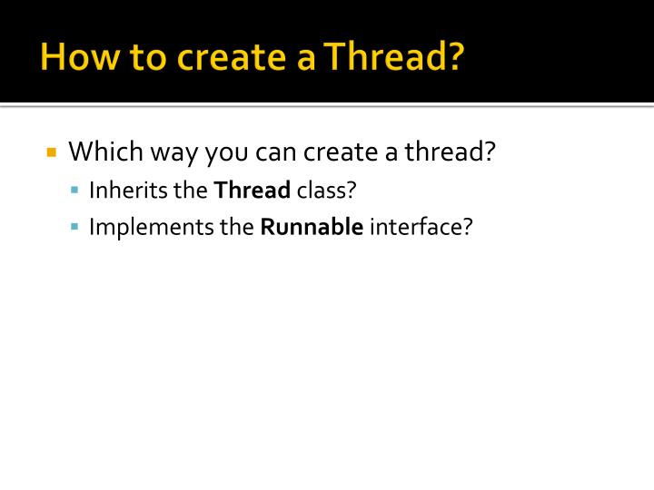 How to create a Thread?